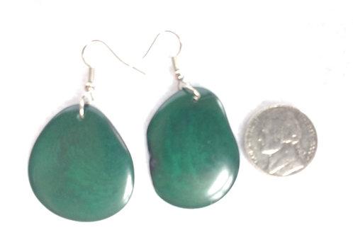 Tagua Earrings, Deep Green