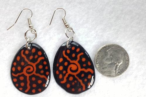 Tagua Earrings Painted in Batik Style, Orange
