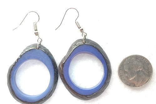 Tagua Earrings, Shell on, Blue