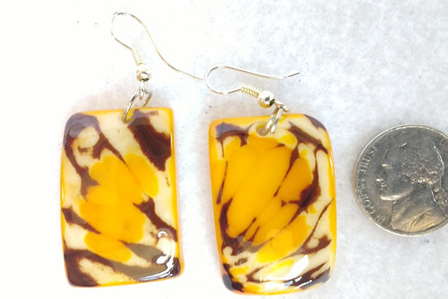 Tagua Earrings, Yellow, Rectangular