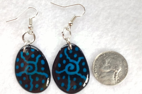Tagua Earrings Painted in Batik Style, Blue