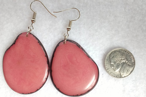 Tagua Earrings, Pink