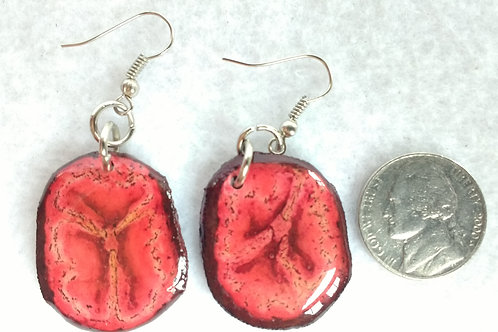 Real Fruit Earrings, Banana Slices Dyed Red