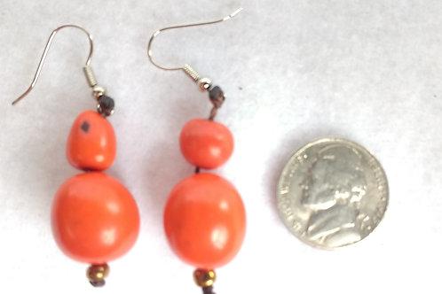 Palm Berry Earrings, Deep Orange