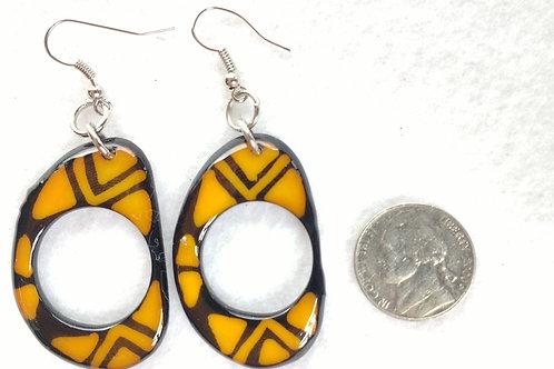 Tagua Earrings Painted in Batik Style, Yellow