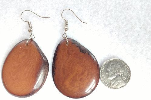 Tagua Earrings, Brown