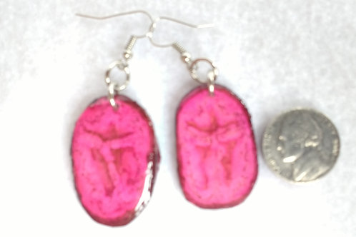 Real Fruit Earrings, Banana Slices Dyed Pink