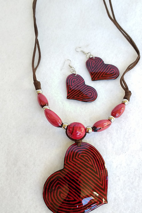 Tagua Necklace Earring Set