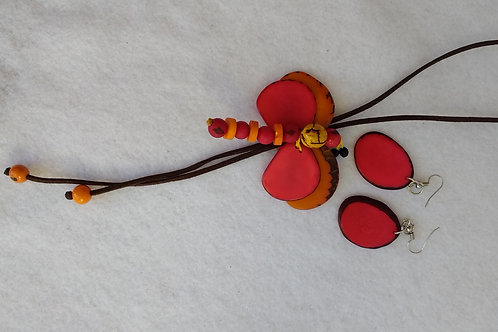 Tagua Dragonfly Necklace and Earring Set