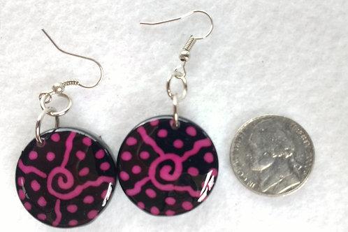 Tagua Earrings Painted in Batik Style, Pink