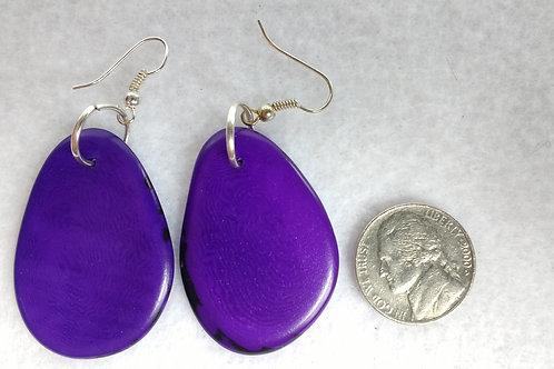 Tagua Earrings, Purple