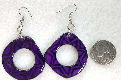 Tagua Earrings Painted in Batik Style, Purple