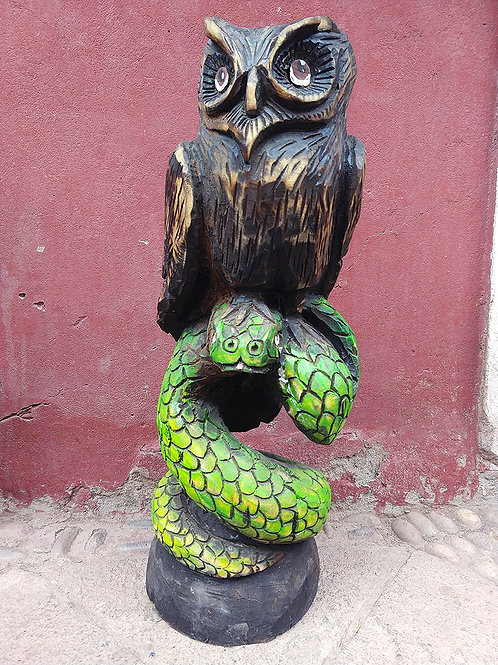 Wood Carving- Anaconda and Owl