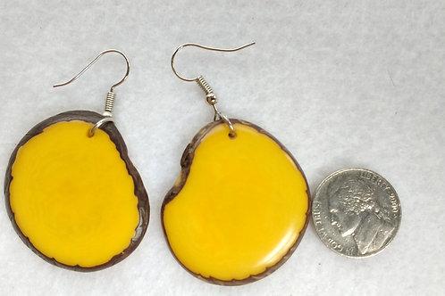 Tagua Earrings, Yellow