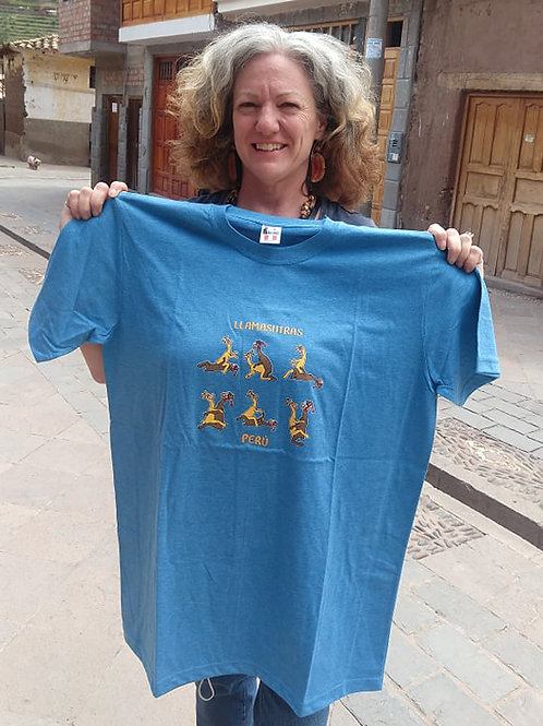 Light Blue Llama Sutra T-Shirt