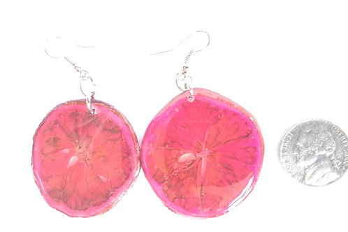 Real Fruit Earrings, Lemon Slices Dyed Red