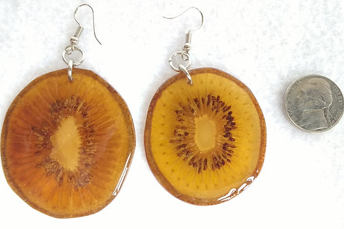 Real Fruit Earrings, Kiwi Slices Dyed Yellow