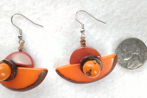 Tagua Earrings, Shell On, Half Moon, Orange