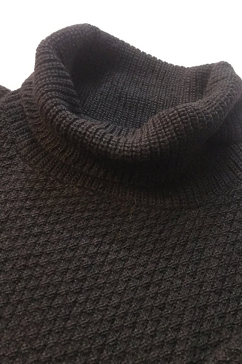 Black Alpaca Turtleneck Sweater