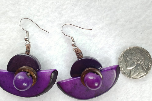 Tagua Earrings, Shell On, Half Moon, Purple