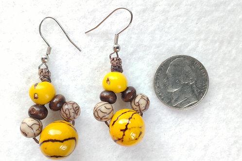 Tagua Earrings with Acai, Yellow