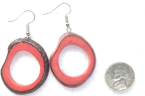 Tagua Earrings, Shell On, Red