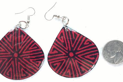 Tagua Earrings Painted in Batik Style, Red