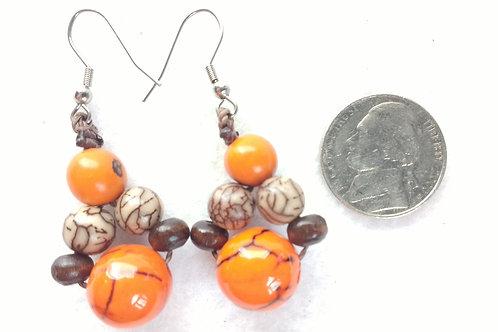 Tagua Earrings with Acai, Orange