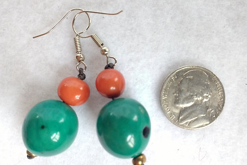 Palm Berry Earrings, Green and Orange