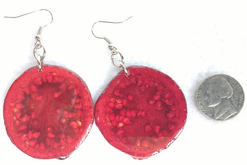 Real Fruit Earrings, Pomegranate Slices Dyed Red