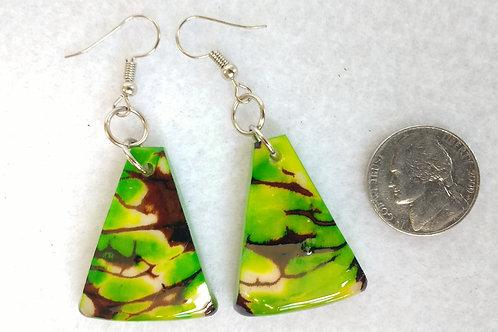 Tagua Earrings, Green, Triangular