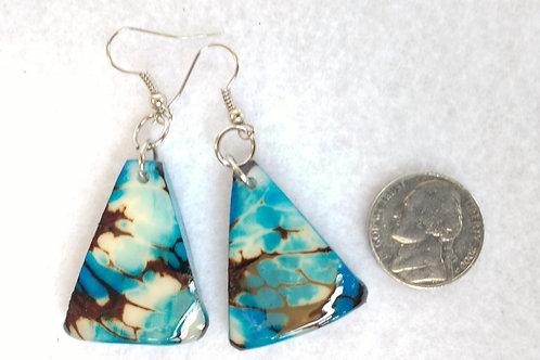 Tagua Earrings, Blue, Triangular
