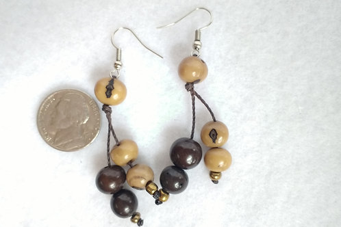 Acai Berry Earrings, Brown and Biege