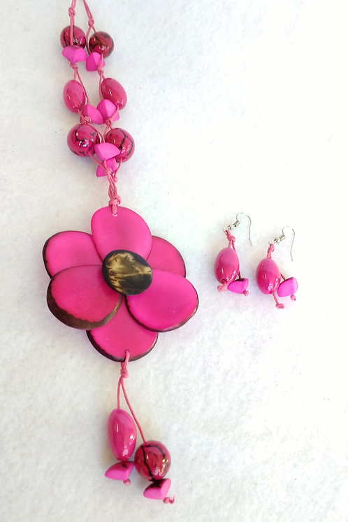Tagua Flower and Palm Berries Pink