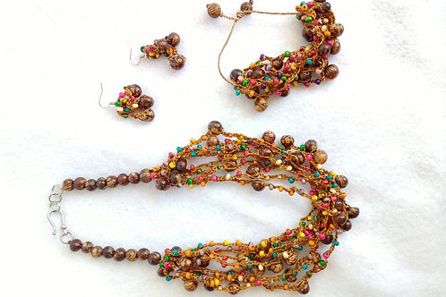Multi-strand Necklace with Earrings and Brecelet