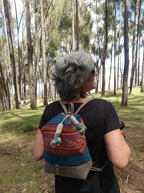 Small Blue Inca Design Backpack