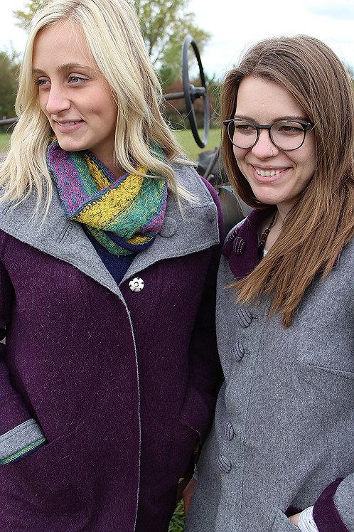 Royal Purple & Gray Reversible Alpaca Coat