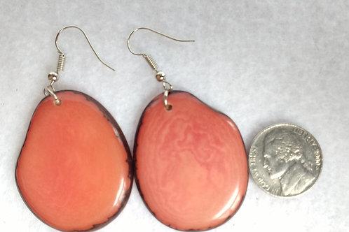 Tagua Earrings, Peachy Orange