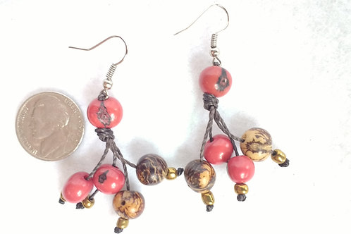 Acai Berry Earrings, Red and Natural