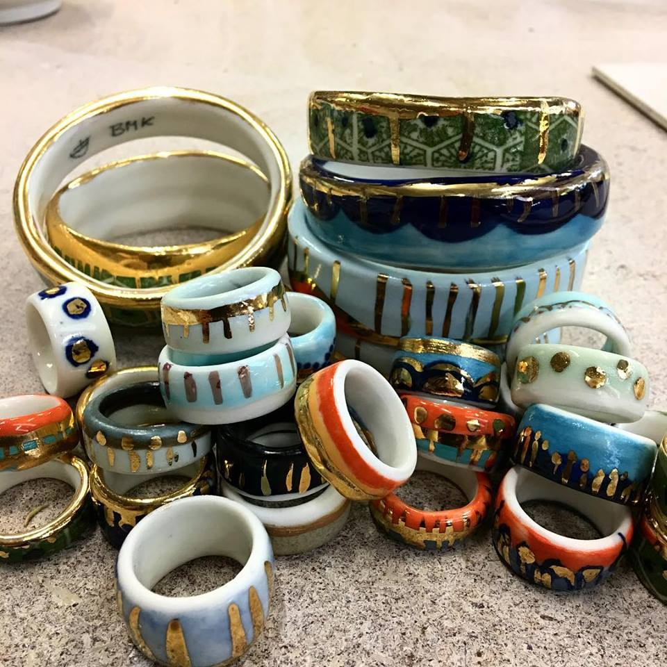 Gold Lustre and Porcealian Rings