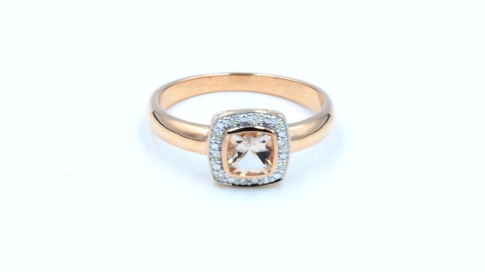 9ct Rose Gold Morganite Diamond Ring