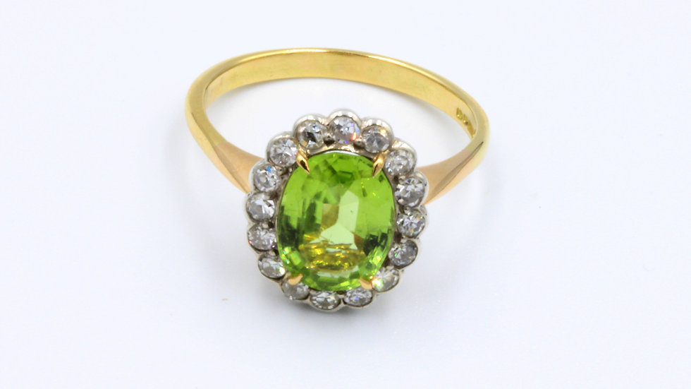 18ct Peridot Diamond Ring