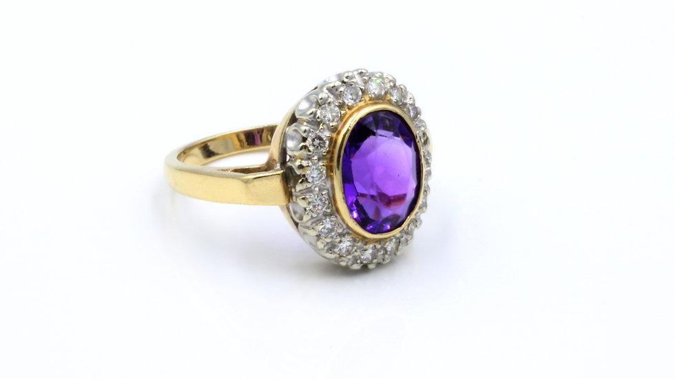 14ct Vintage Amethyst Diamond Cluster Ring