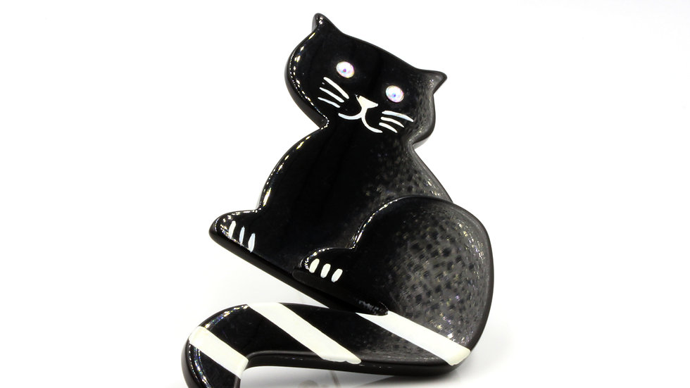Maria Pavone Black and White Cat Brooch