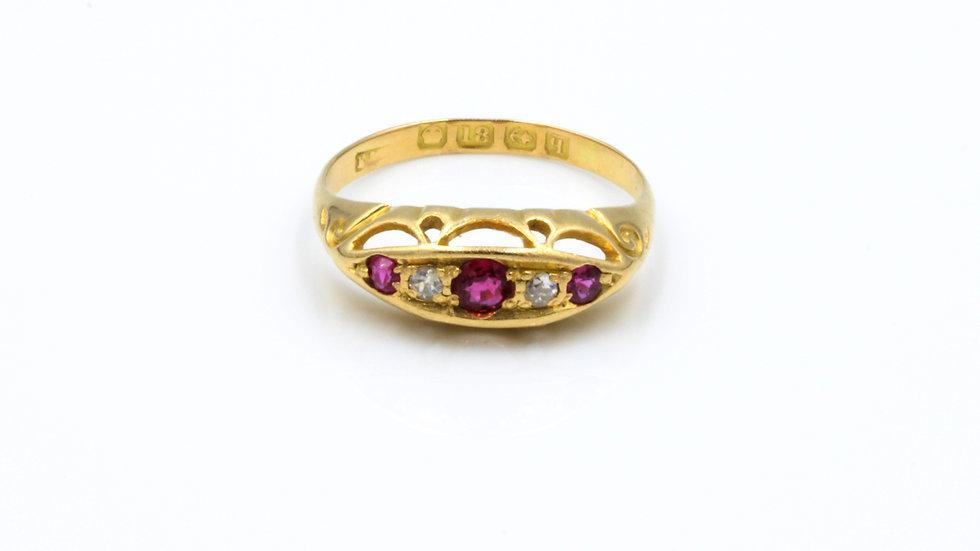 18ct Ruby and Diamond Ring Birmingham 1915