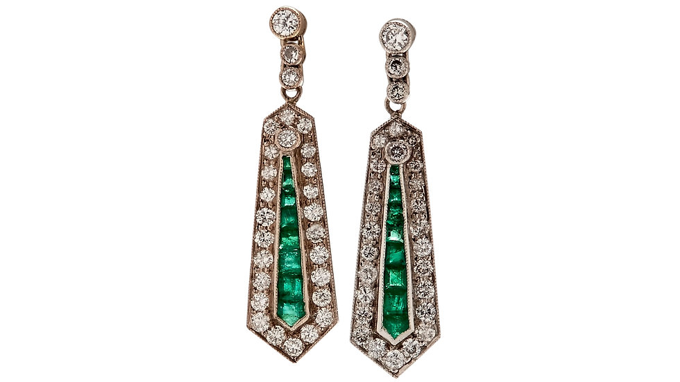 Vintage 18ct White Gold Emerald Diamond Drop Earrings