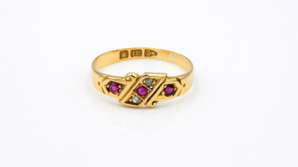 Antique Ruby Diamond Ring Made in Chester