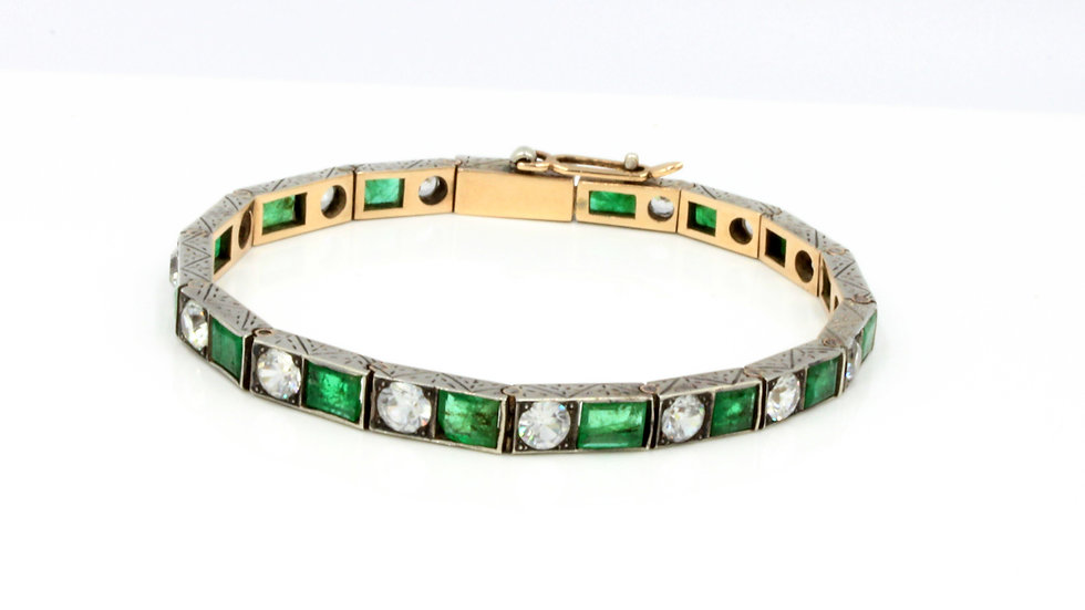 Silver Emerald and Zircon Bracelet