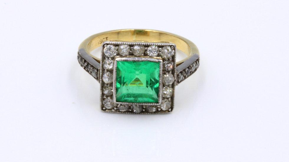 Art Deco 18ct Square Emerald and Diamond Ring