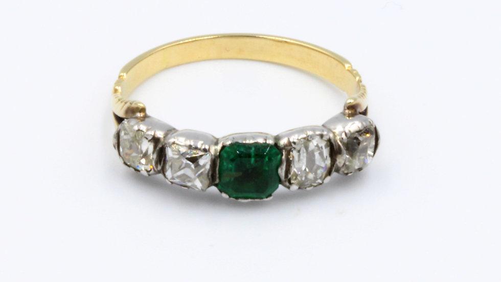 18ct Silver Georgian Emerald Diamond Ring